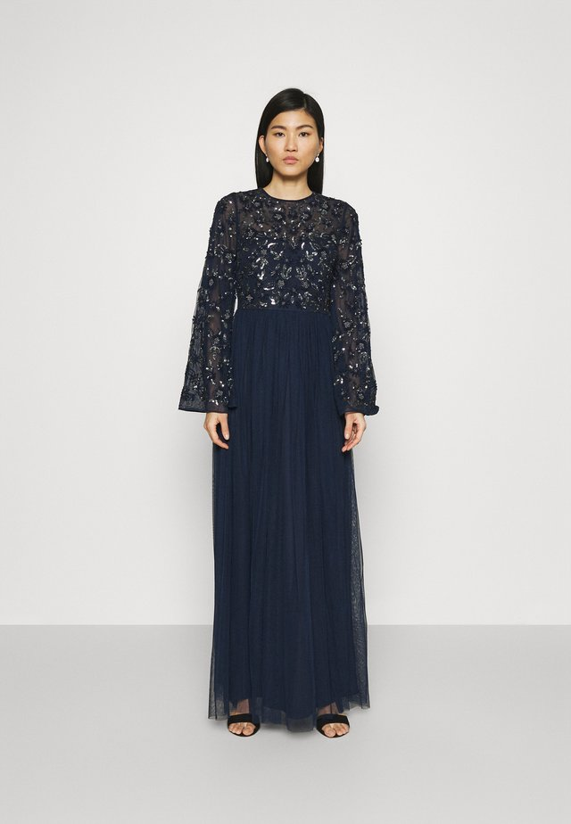 FLORAL EMBELLISHED BELL SLEEVE MAXI DRESS - Iltapuku - navy