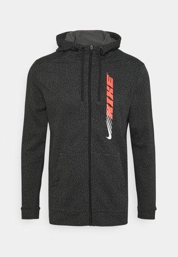 DRY ENERGY - Zip-up hoodie - black/bright crimson