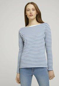 TOM TAILOR DENIM - CONTRAST NECK - Long sleeved top - white blue stripe - 0