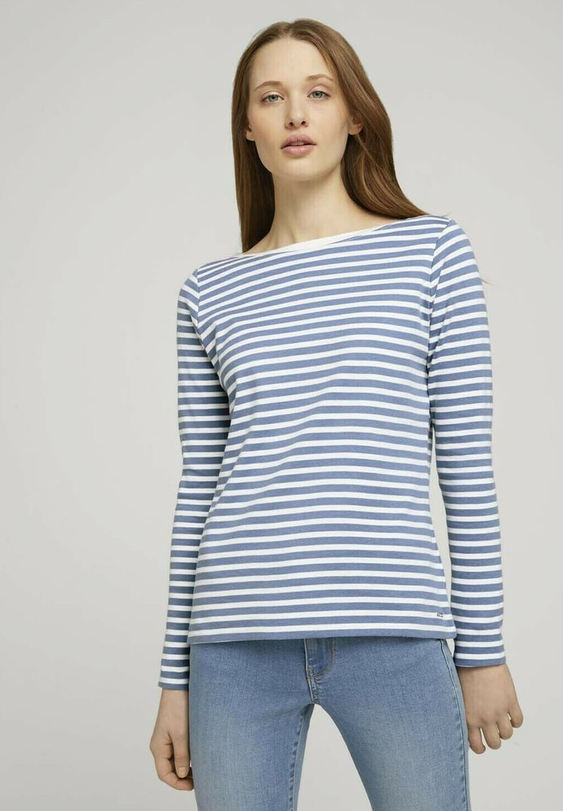 TOM TAILOR DENIM - CONTRAST NECK - Long sleeved top - white blue stripe