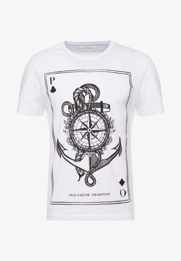Pier One T-shirt z nadrukiem - white/biały Odzież Męska BBGN