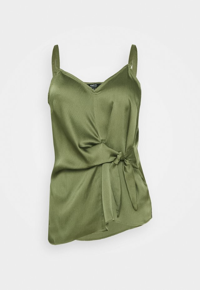 KNOT FRONT HAMMERED CAMI - Top - khaki