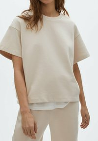 Massimo Dutti - Basic T-shirt - beige - 0