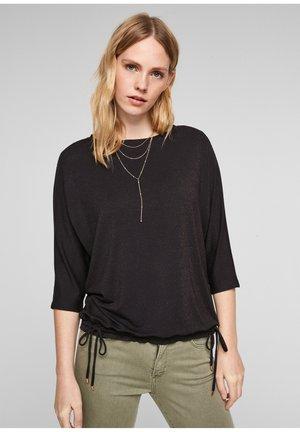À CORDON COULISSANT SOUS TUNNEL - Long sleeved top - black stripes