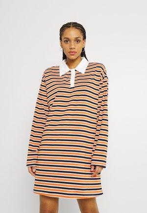 LOOSE RUGBY SHIRT MINI DRESS - Day dress - orange multi white