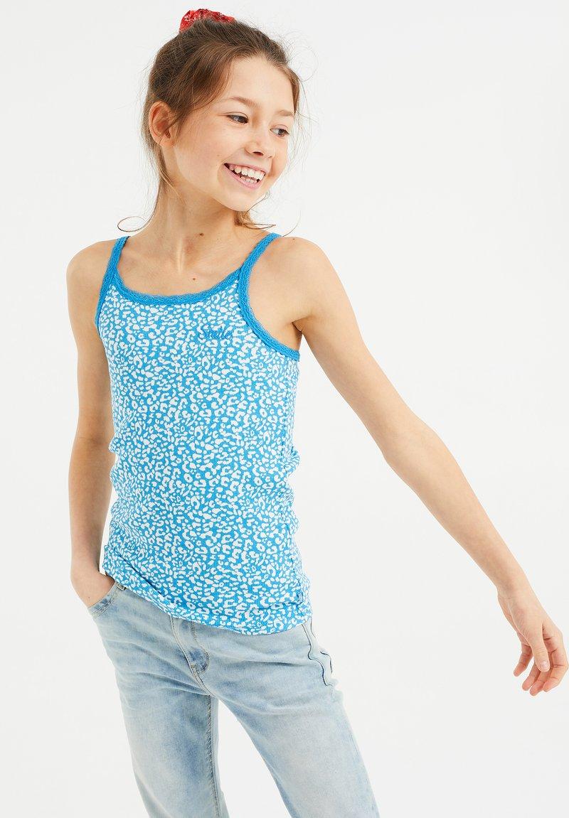 WE Fashion - MET RIBSTRUCTUUR EN KANT, 3-PACK - Top - blue