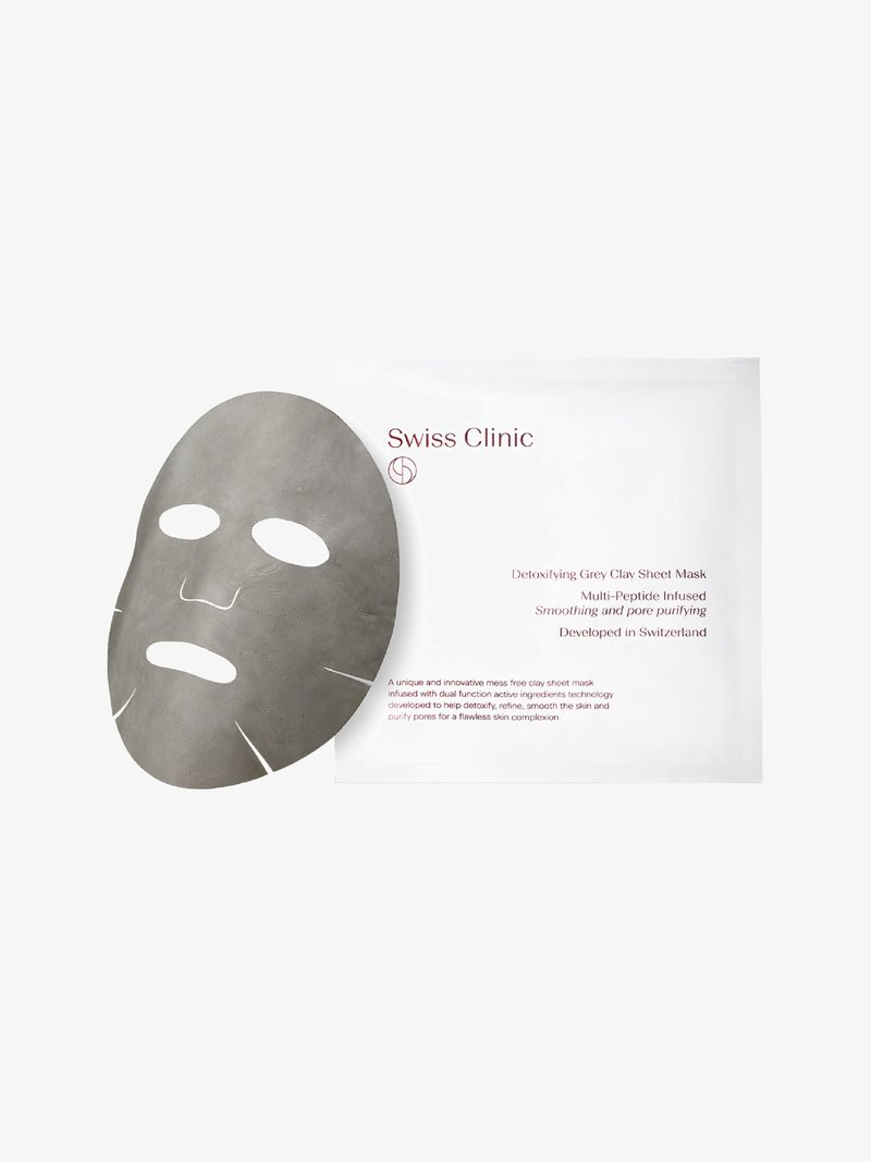 Swiss Clinic - DETOXIFYING GREY CLAY SHEET MASK - Face mask - -