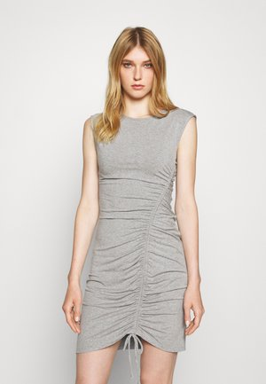 CAP SLEEVE SIDE RUCHED SKIRT WITH DRAW STRING - Cocktail dress / Party dress - heather grey