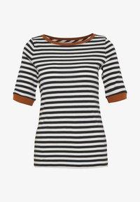 CONTRAST NECK - Print T-shirt - black