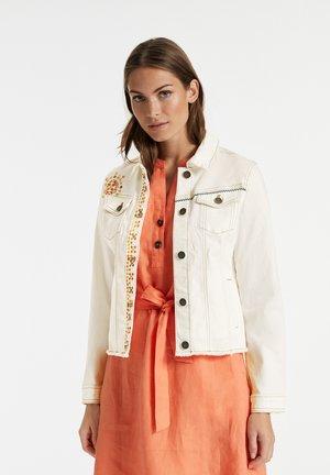 MIT STICKEREI - Denim jacket - ecru