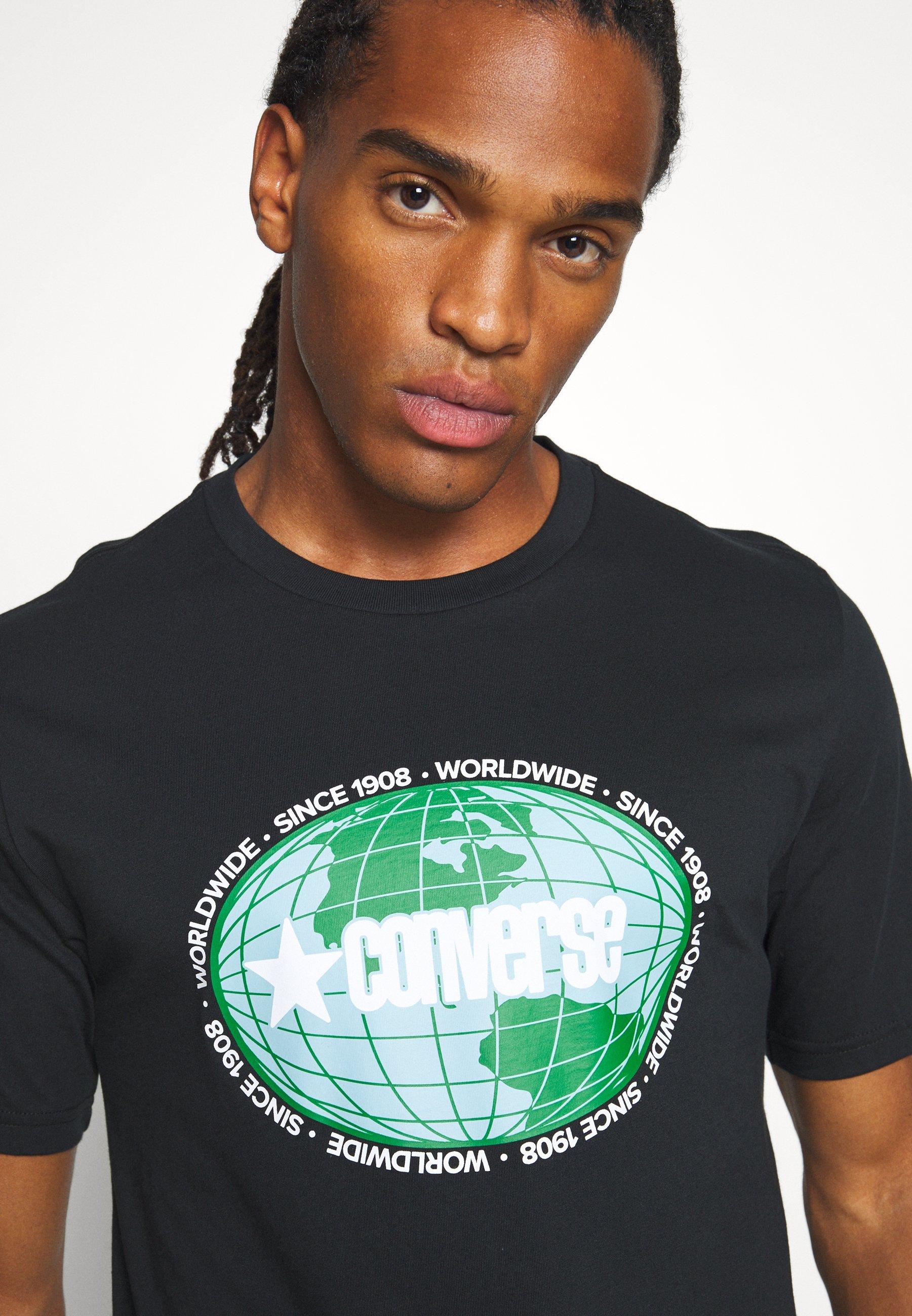 Converse AROUND THE WORLD TEE - Print T-shirt - black YOVNK