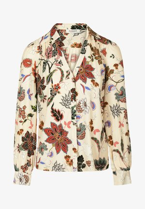 WITH VEGETAL PRINT - Button-down blouse - beige