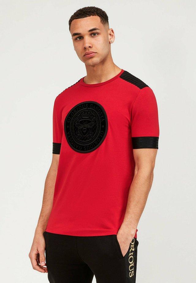 GUSTAV TEE - T-shirt imprimé - red/black