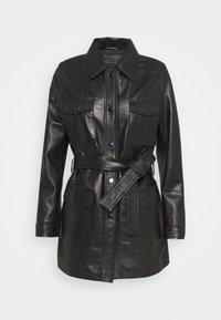 AMELIE BELTED JACKET - Leather jacket - black