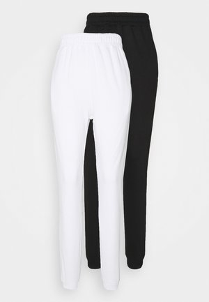 BASIC 2 PACK - Tracksuit bottoms - white/black