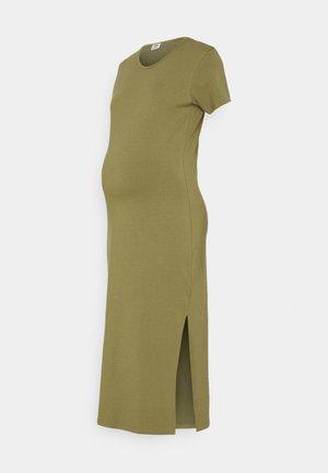 MATERNITY SHORT SLEEVE SPLIT FRONT MIDI DRESS - Sukienka z dżerseju - soft moss