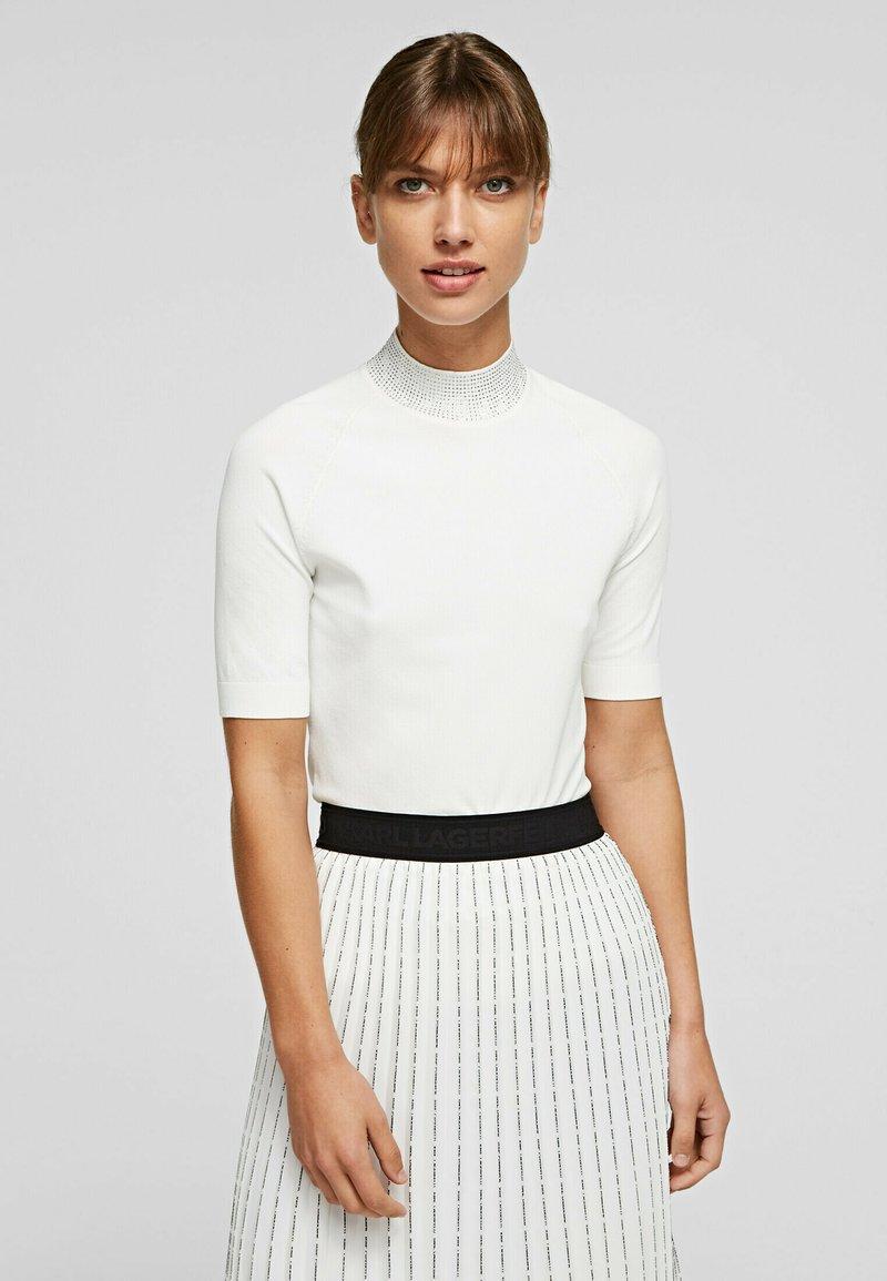 KARL LAGERFELD - RHINESTONES MOCK - Pullover - white