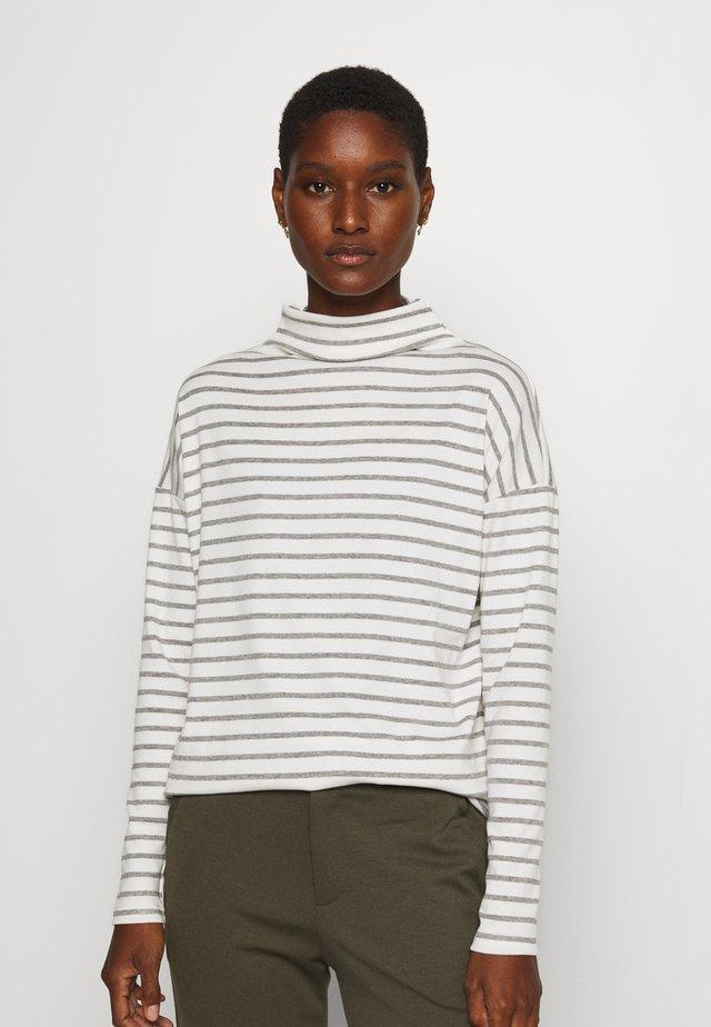 KALIDDY HIGH NECK - Long sleeved top - chalk/grey melange