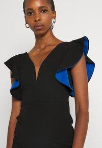 WAL G. - V NECK RUFFLE SLEEVE MIDI DRESS - Cocktail dress / Party dress - black/royal blue - 3