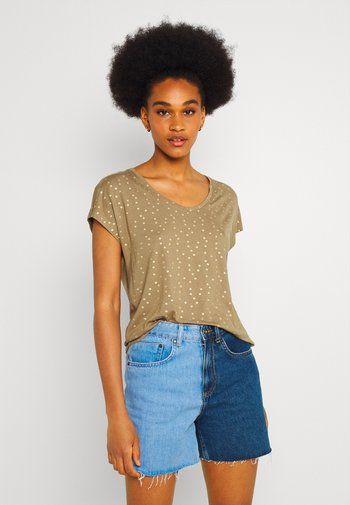 ONLMANYA GLITTER V NECK  - T-shirts med print - elmwood/gold