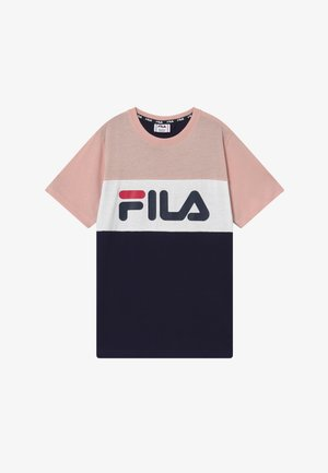 MARINA BLOCKED TEE - T-shirt imprimé - black iris/sepia rose/bright white