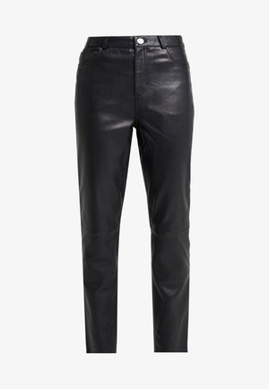 BOOGIE - Leather trousers - black