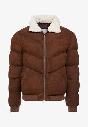 POLAR - Leather jacket - tobacco