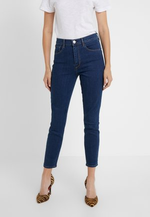 HIGH RISE CROP - Slim fit jeans - dark blue denim