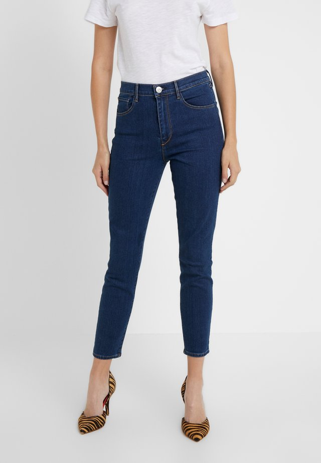 HIGH RISE CROP - Jean slim - dark blue denim