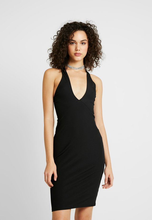 CROSS FRONT DRESS - Day dress - black