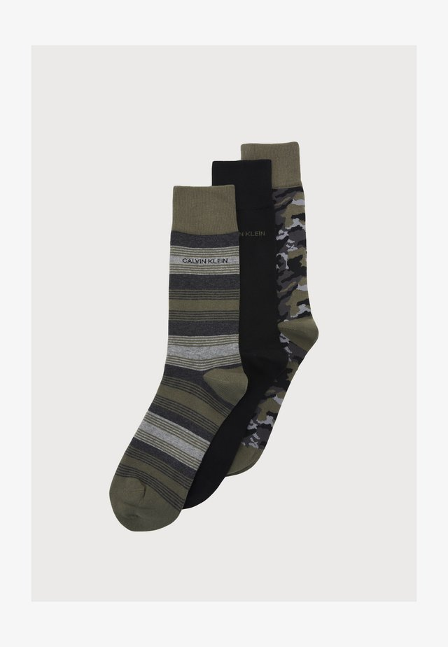 MENS COLOR BLOCKING CAMO CREW CONNOR 3 PACK - Socks - green