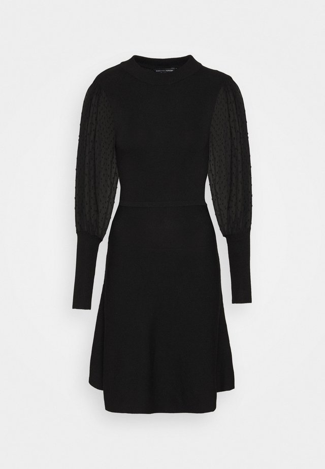 DOBBY SLEEVE DRESS - Gebreide jurk - black