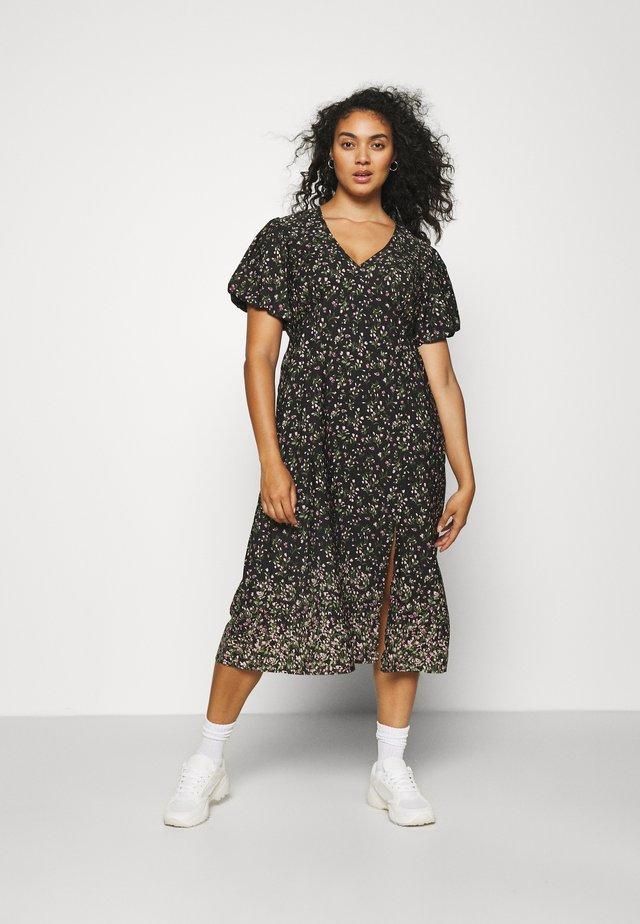 JACQUARD SPOT TRAPEZE MAXI DRESS - Korte jurk - black floral