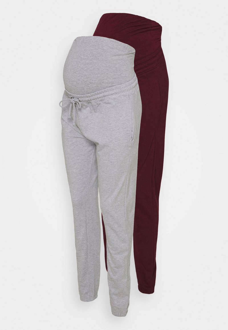 Missguided Maternity - MATERNITY BASIC JOGGER 2 PACK - Tracksuit bottoms - grey marl/burgundy