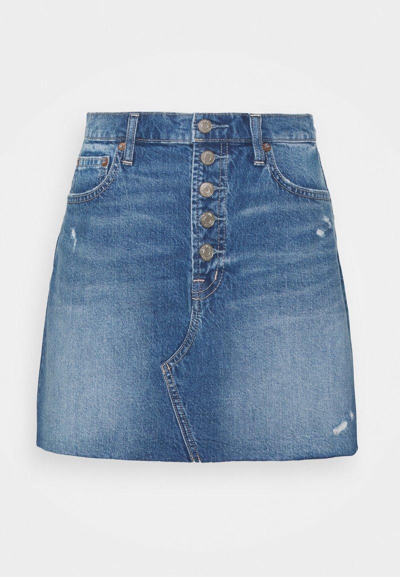 GAP Petite - MINI A LINE SKIRT - Mini skirt - medium indigo