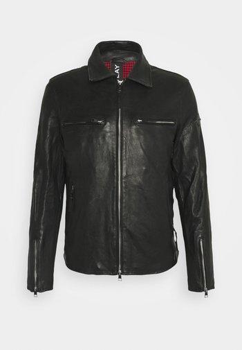COMBAT - Leather jacket - black
