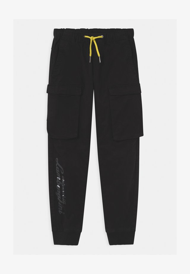 LOGOSCRIPT SPORTY - Cargo trousers - black pegaso