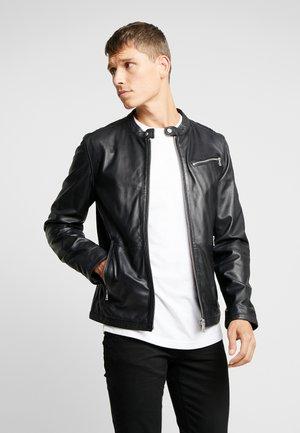 NEW DAVIS - Leather jacket - black/navy