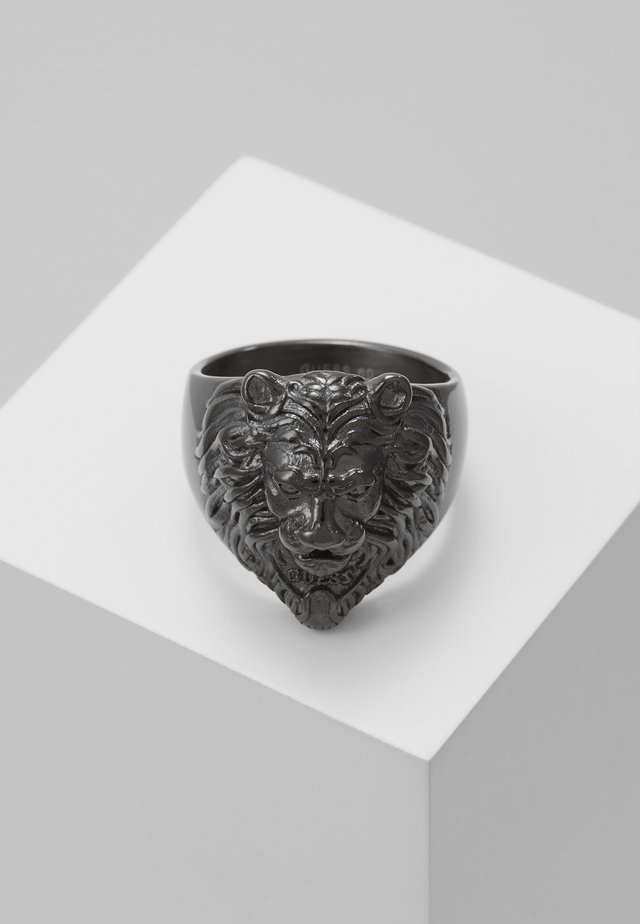 LION HEAD RING - Prsten - gunmetal