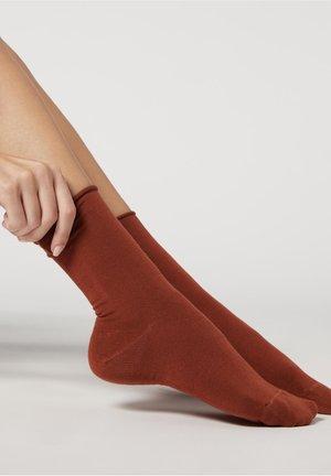 Socks - black gold rust pattern