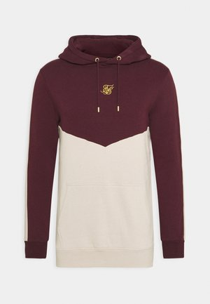 CUT AND SEW OVERHEAD HOODIE - Sudadera - wine/cream