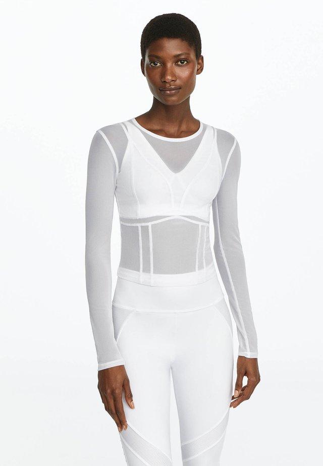 CROP - Long sleeved top - white