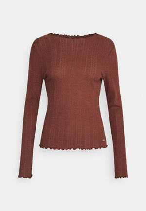 POINTELLE TEE - Long sleeved top - rust orange