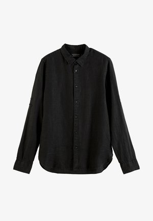 REGULAR FIT- GARMENT-DYED WITH SLEEVE ROLL-UP - Shirt - schwarz