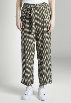 TOM TAILOR HOSEN & CHINO FLIESSENDE CULOTTE-HOSE MIT MUSTERUNG - Trousers - khaki dot design