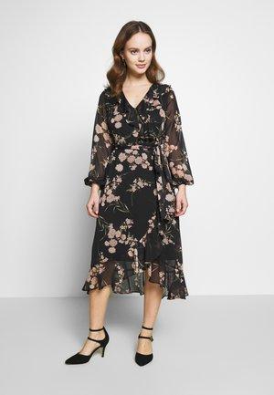 ORIENTAL RUFFLE MIDI DRESS - Day dress - black