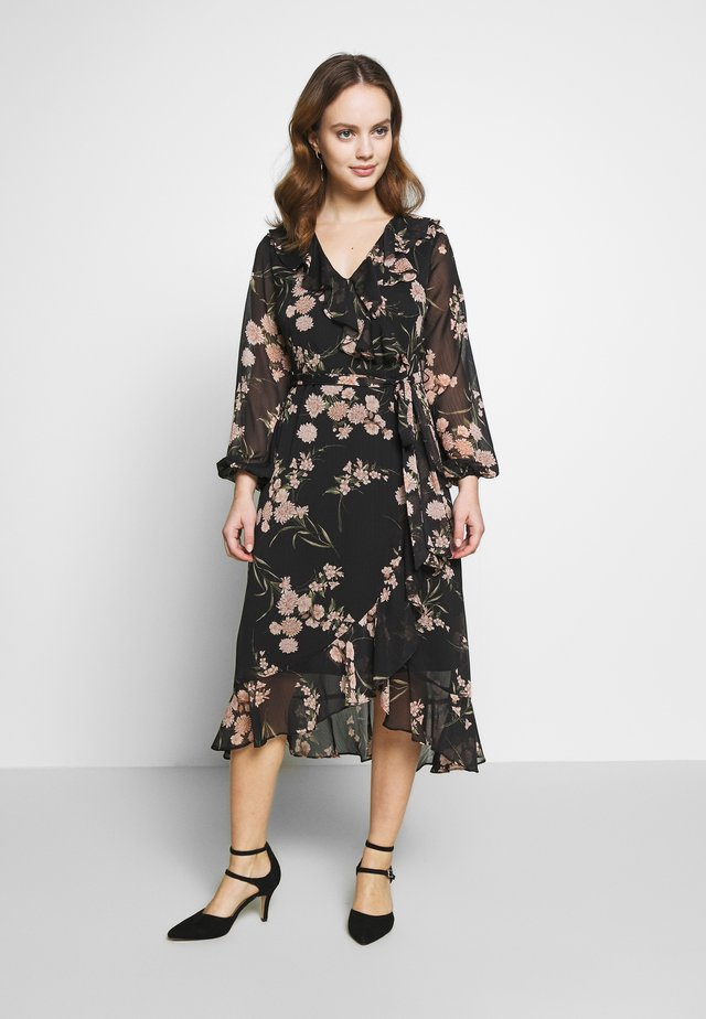 ORIENTAL RUFFLE MIDI DRESS - Day dress - black