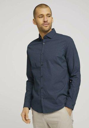 Formal shirt - navy blue wave design