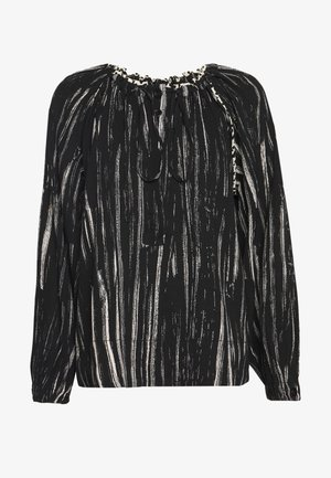 PRINTED GEORGETTE LONG SLEEVE TIE NECK BLOUSE - Blouse - black/ecru