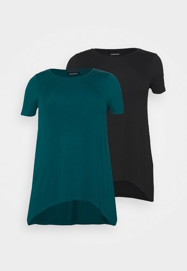 2 PACK - T-shirt print - black/blue